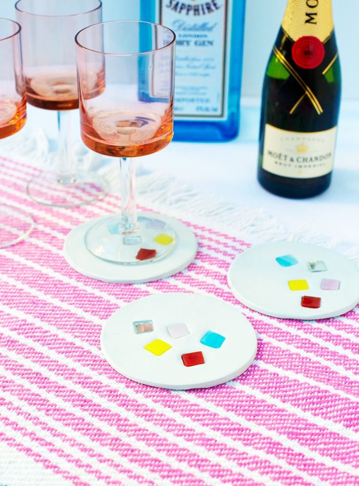 DIY Project Summer Mosaic Coasters (simple use air dry