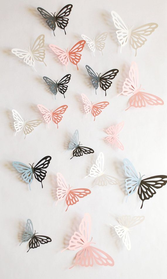 Wall Decoration By Paper Cutting : D paper butterfly with cut outs wall sticker by
