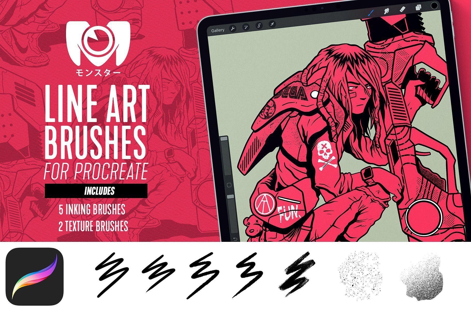 Line Art Brush Set For Procreate Art Brushes Line Art