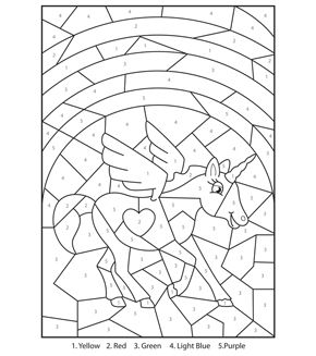 Magical unicorn colour-by-numbers | Unicorn coloring pages ...