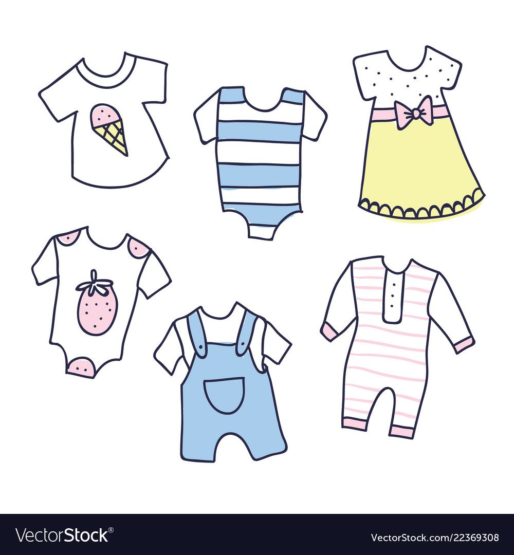 Baby shower of girl and boy clothes vector image on