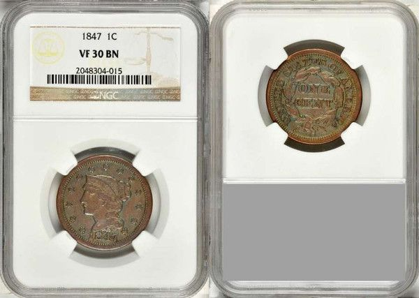 1847 Liberty Head Braided Hair Design Large Cent NGC Graded VF30 BN