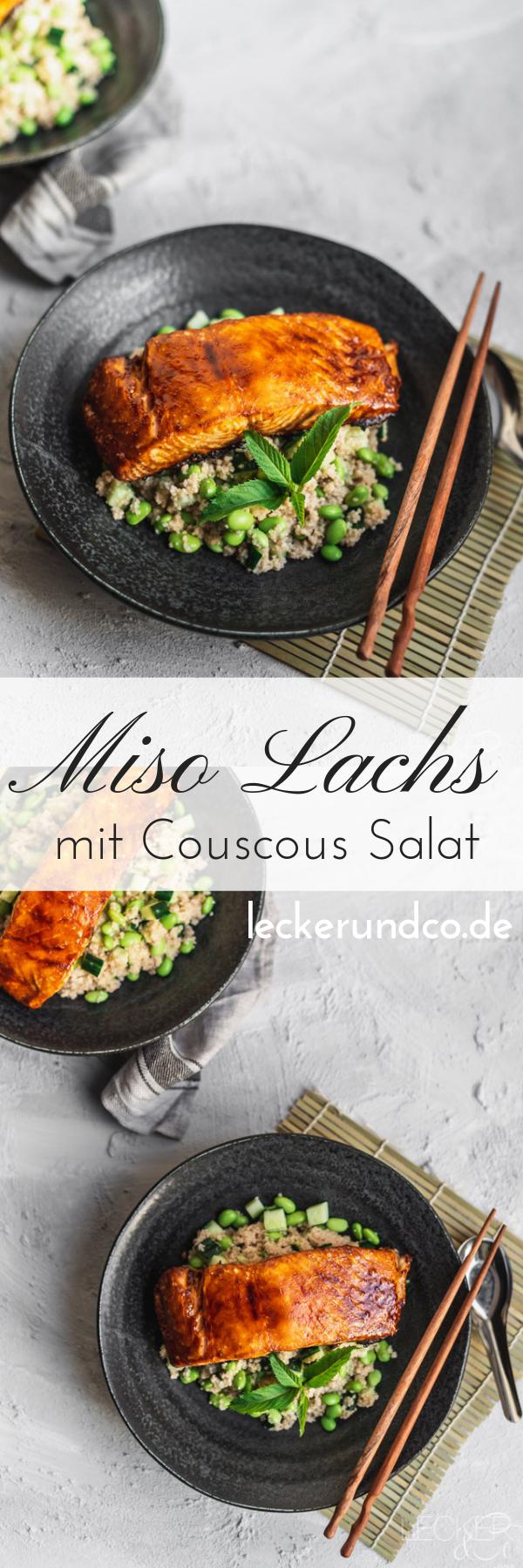 Miso glasierter Lachs mit Couscous Salat | LECKER&Co | Foodblog aus Nürnberg