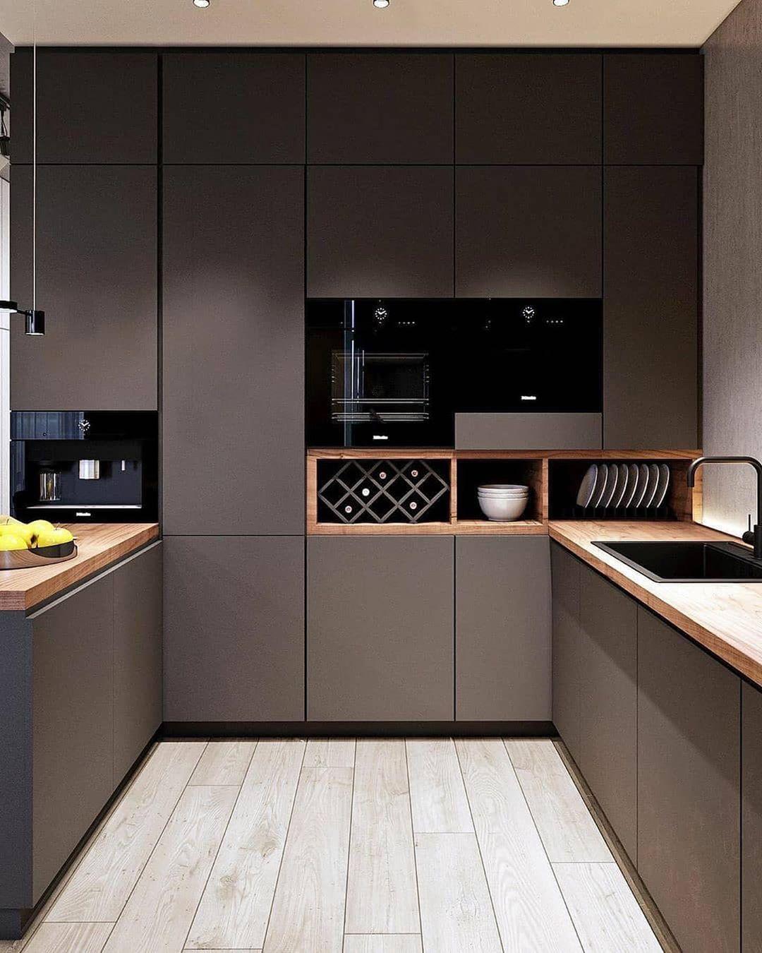 Kto By Sie Dobrze Czul W Takiej Ciemnej Kuchni Kitchen Design Modern Kitchen Design Modern Kitchen
