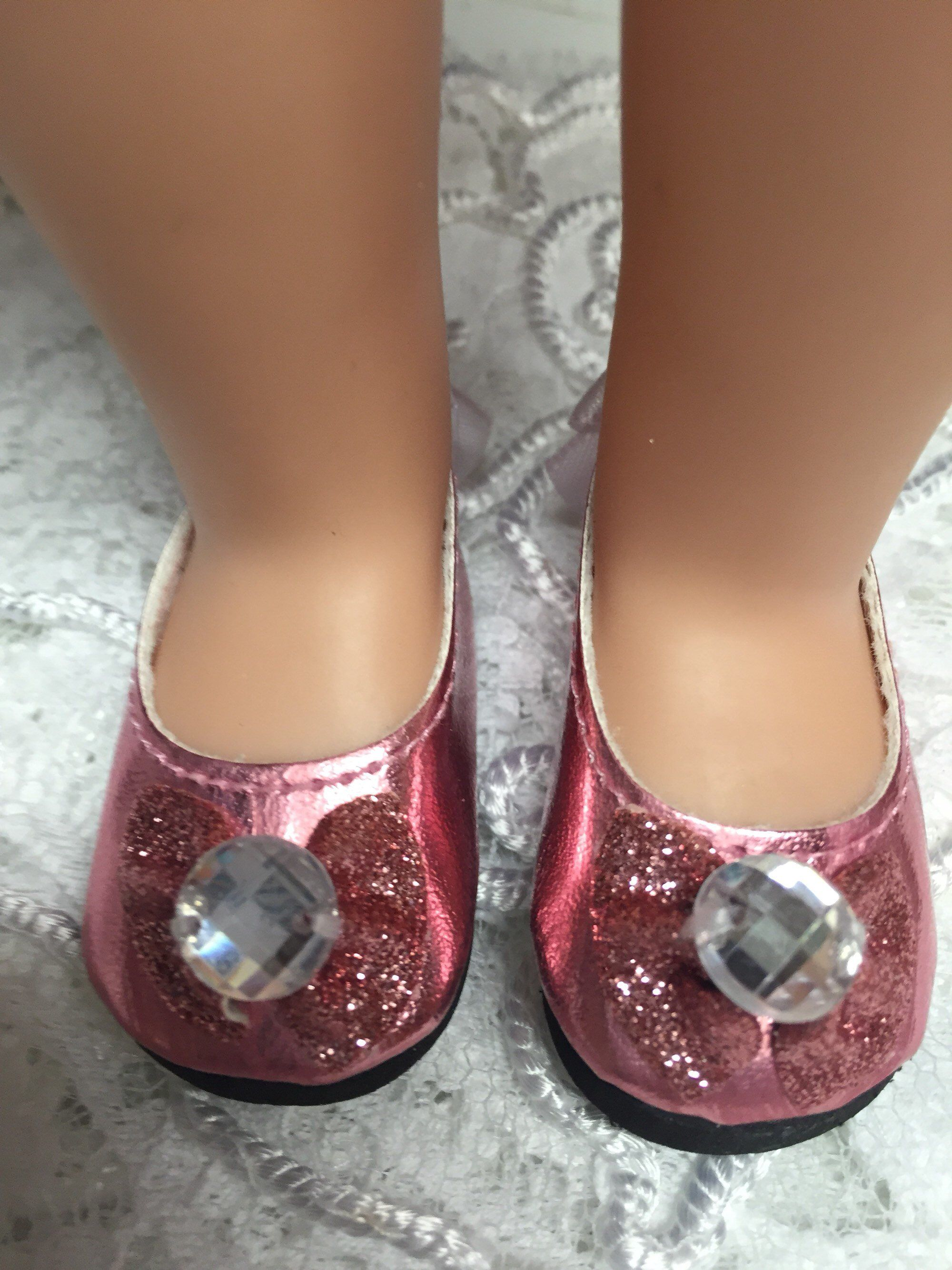 b5a13f2d750f Excited to share the latest addition to my #etsy shop: Wellie wishers shoes  for dolls gemstone and bows flats pink roses handmade by BeDollying 14.5  inch ...
