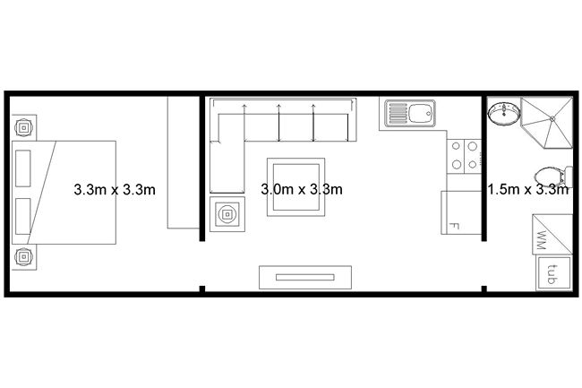 Floorplan basic granny flat pinterest granny flat for 1 bedroom granny flat designs