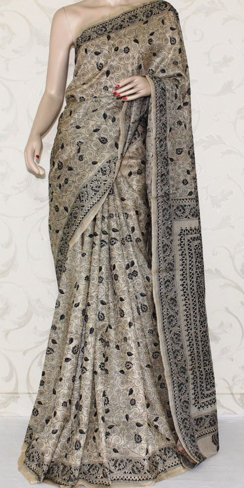 c2cabe0bf9 Kantha Work Pure Silk Saree 12966. Roll over image to zoom in ...