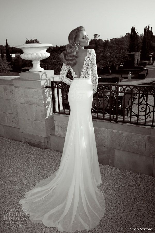 Zoog Studio Wedding Dresses 2017 Long Sleeve Sheath Bridal Gown Guipure Lace Bodice Deep V Back