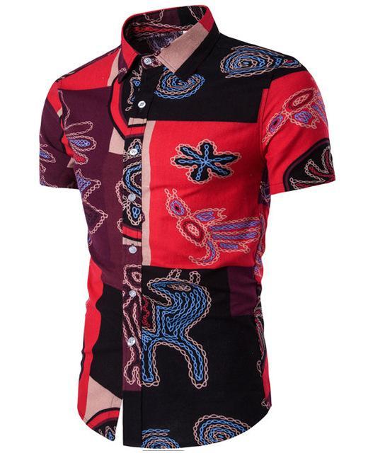2018 Summer T Shirt Men Slim Fit Vintage Floral Print Hem New Fashion Flower Clothing Plus Size White Blue Tee Shirt Homme 3xl Online Shop T-shirts