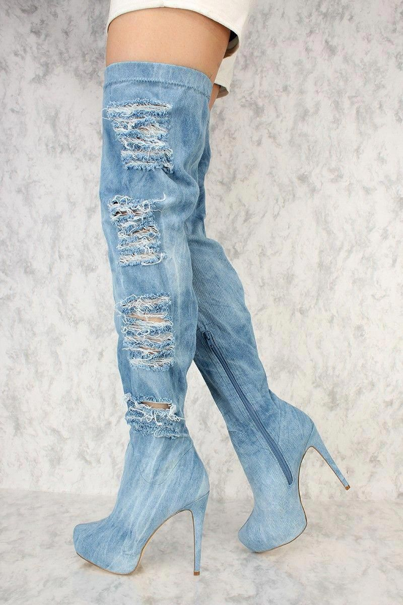 5802d45a8fb Washed Denim Platform Pump High Thigh High AMI Clubwear Boots  Highheelboots