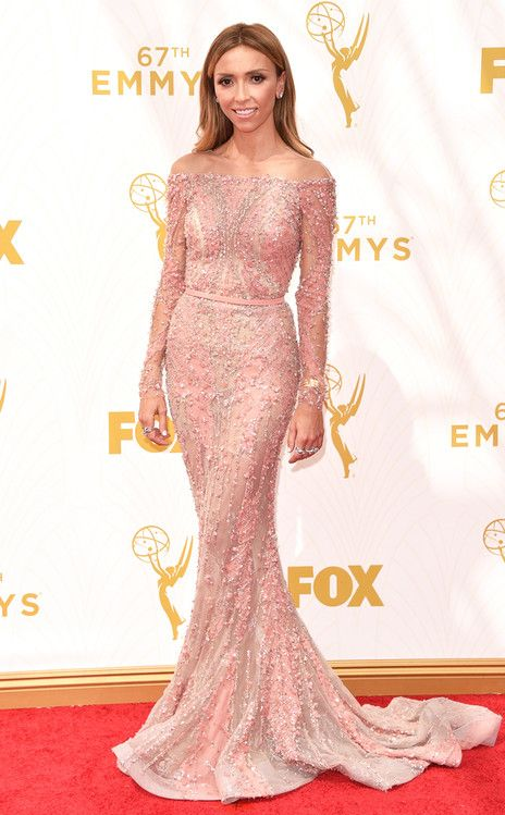 Giuliana Rancic from 2015 Emmys: Red Carpet Arrivals  In Zuhair Murad with Forevermark jewelry
