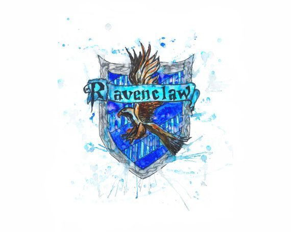 Harry Potter Ravenclaw Print Watercolor Splatter Poster 8x10