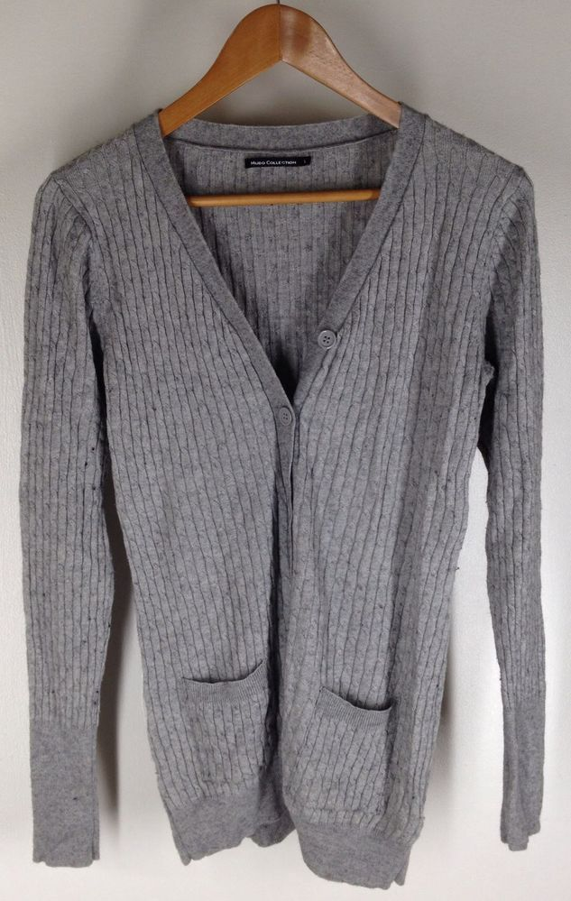 $22.95 Gray Cable Knit Cardigan Viscose Mudo Collection Size L Long Super Soft #Cardigan