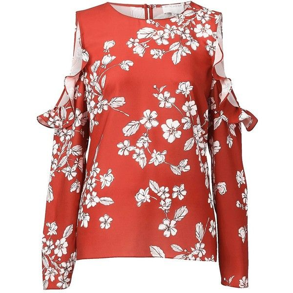 5278afdb366 Witchery Gypsette Blouse (77 NZD) ❤ liked on Polyvore featuring tops,  blouses, ruffle blouse, red floral blouse, cold shoulder ruffle top, floral  blouse ...