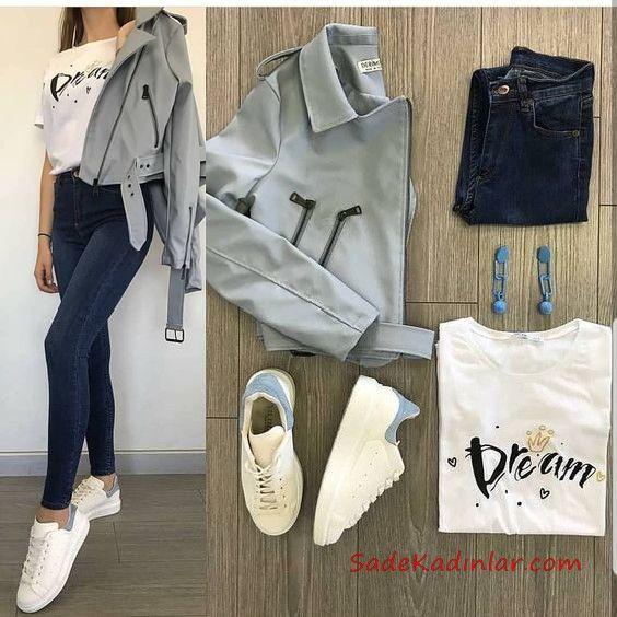 2019 Spor Ayakkabı Kombinleri Lacivert Skinny Kot Pantolon Beyaz Tişört Gri Kısa Deri Ceket Beyaz Spor Ayakkabı
