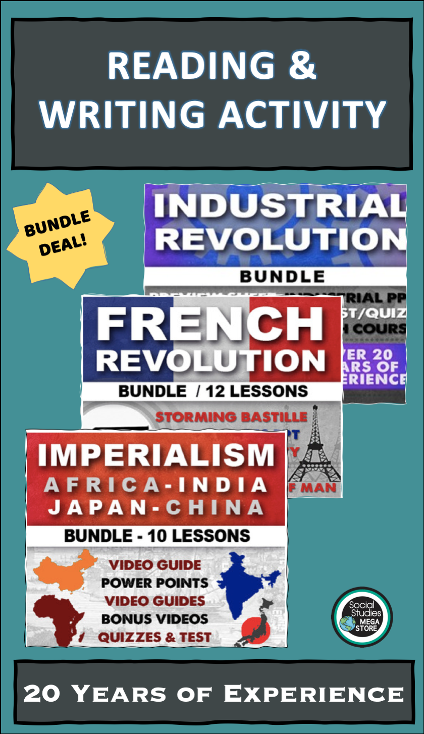 French Industrial Revolution Imperialism Reading Writing