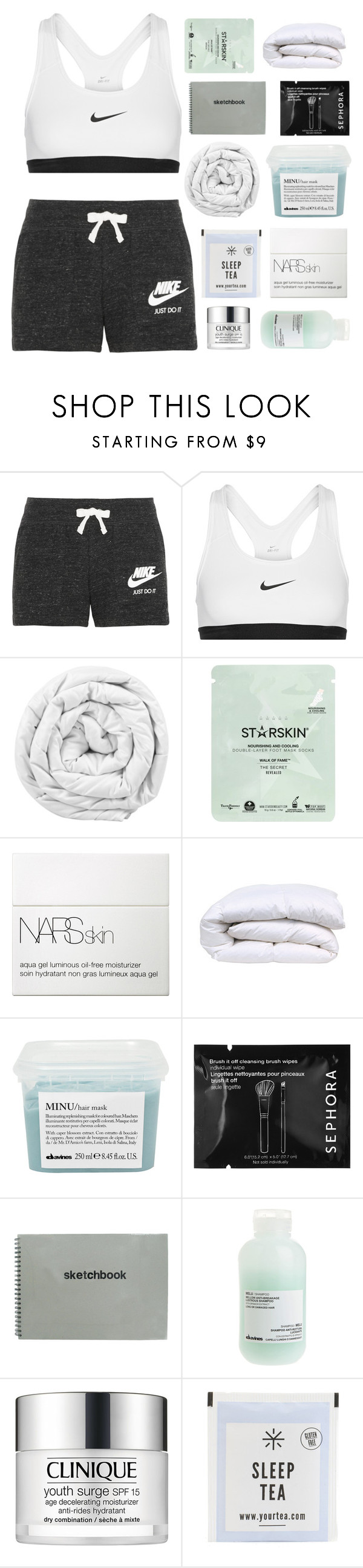 """follow tiandsamscorner (rtd)"" by glowed ❤ liked on Polyvore featuring NIKE, Brinkhaus, Starskin, NARS Cosmetics, Davines, Sephora Collection and Clinique"