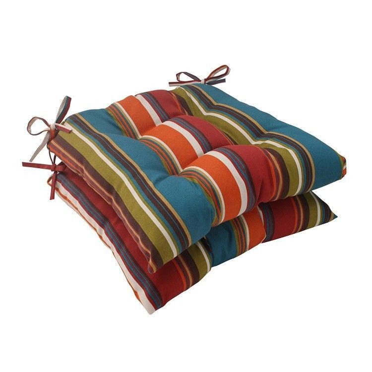 Patio Chair Cushions Outdoor Set 2 Pillows Seat Pad Decor Furniture