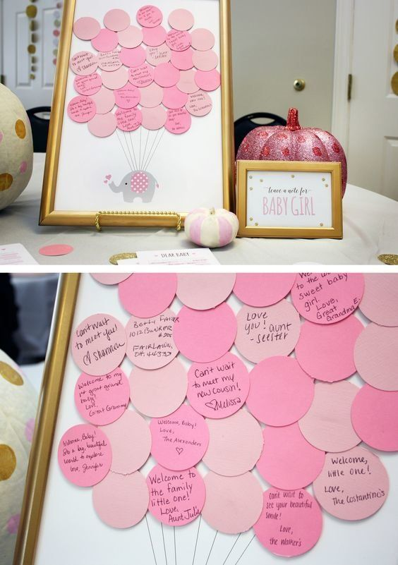 Modern Glam Guest Book | Update the traditional guest book with this modern take that asks guests to write sweet messages on pre-cut 'balloons.' Mount the messages and... #babyshowerparties