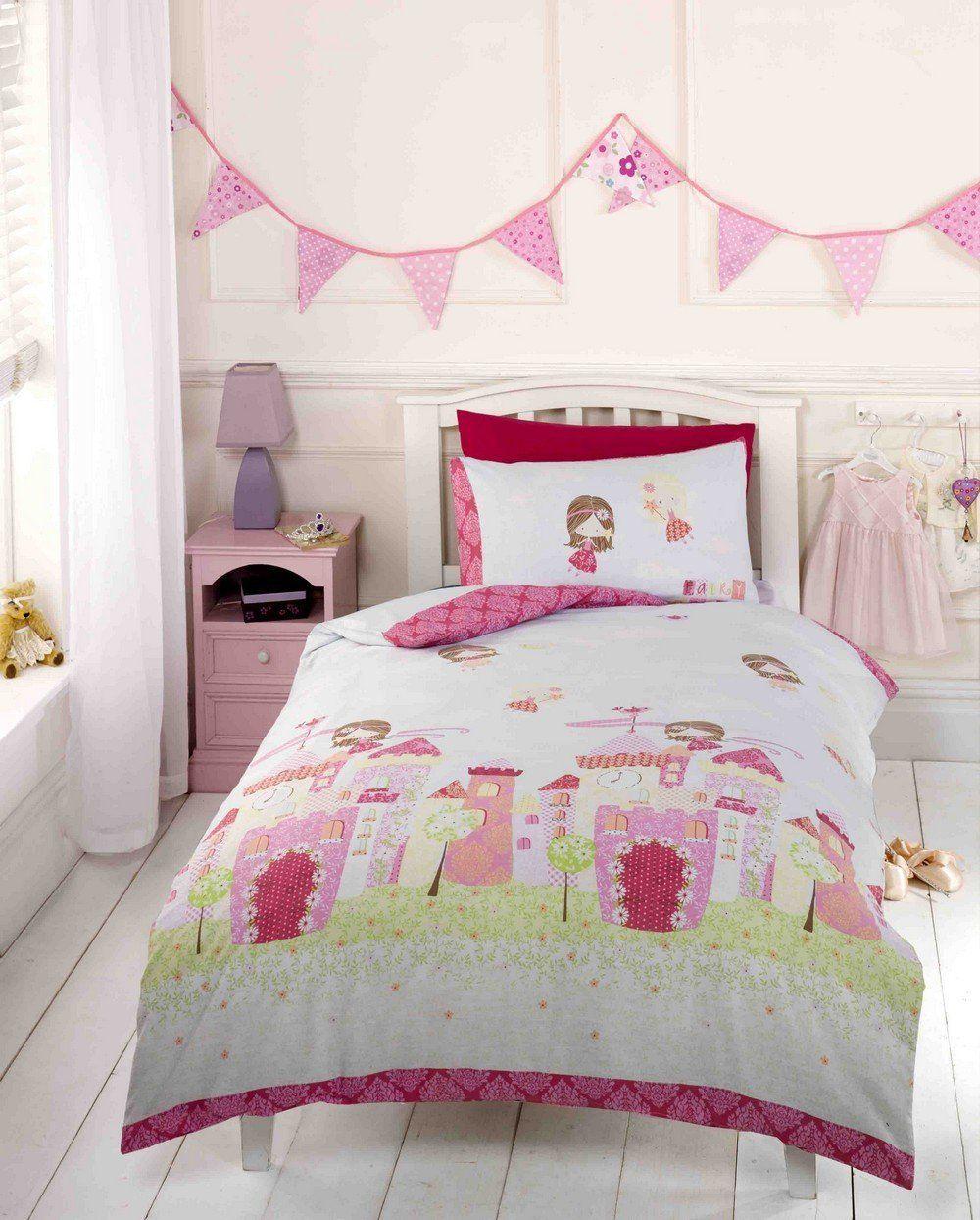 S Pink Fairy Castle Tale Princess Toddler Duvet Cover Bedding Bed Set