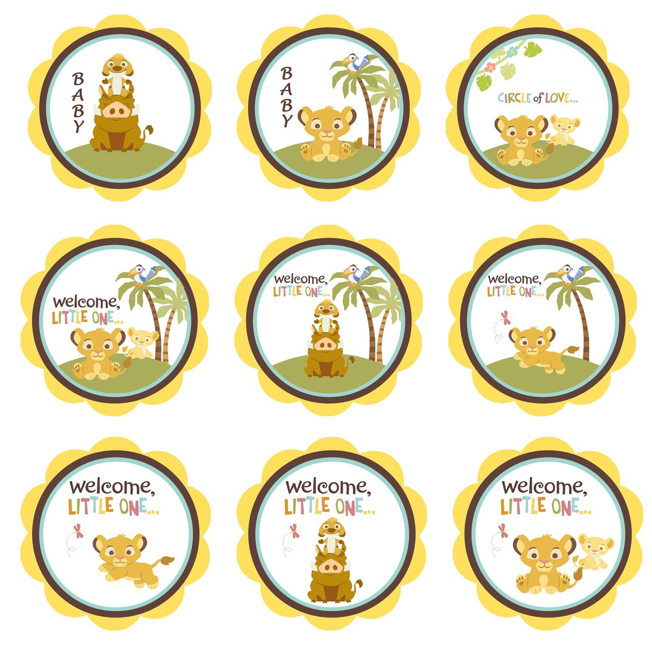 Baby Shower Stickers Next Day Delivery ~ Simba lion king shower cupcake toppers baby gift