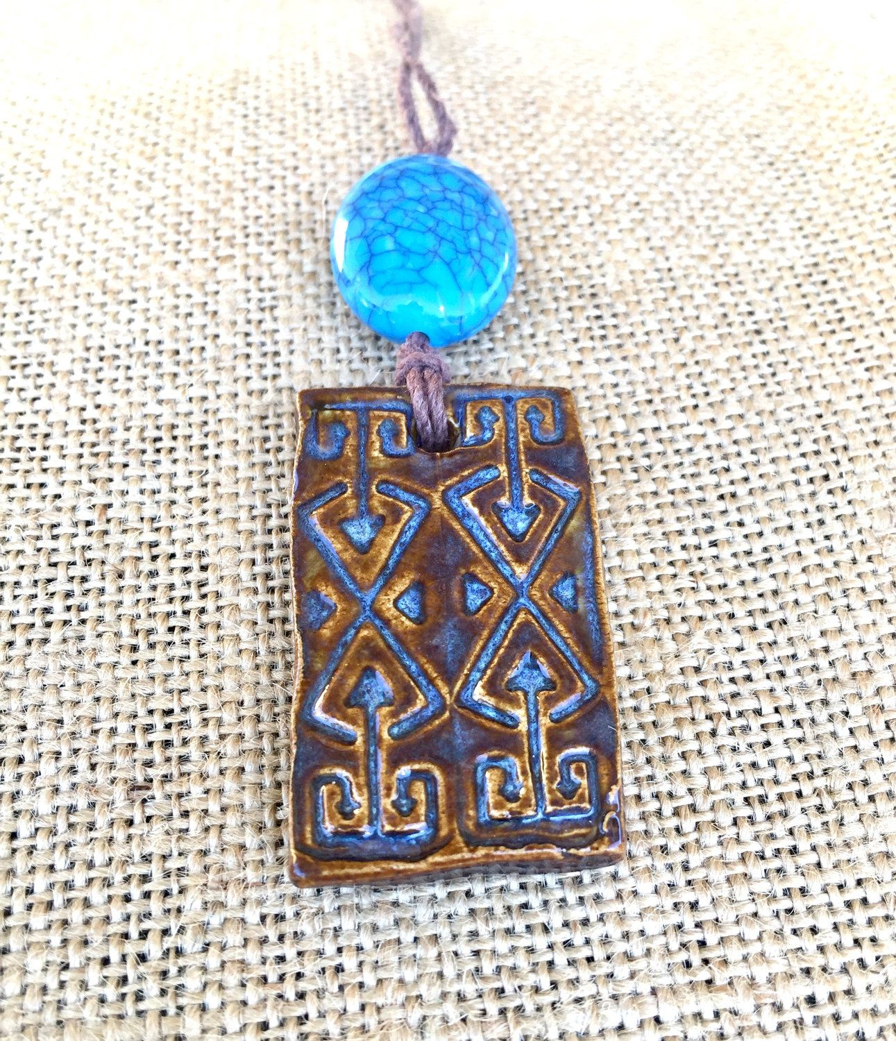 Handmade Ceramic Pendant Necklace with Tribal Pattern, Tribal Necklace, Boho Style, Boho Necklace, Handmade Necklace, Tribal Jewelry by Ifwewerebirdsart on Etsy