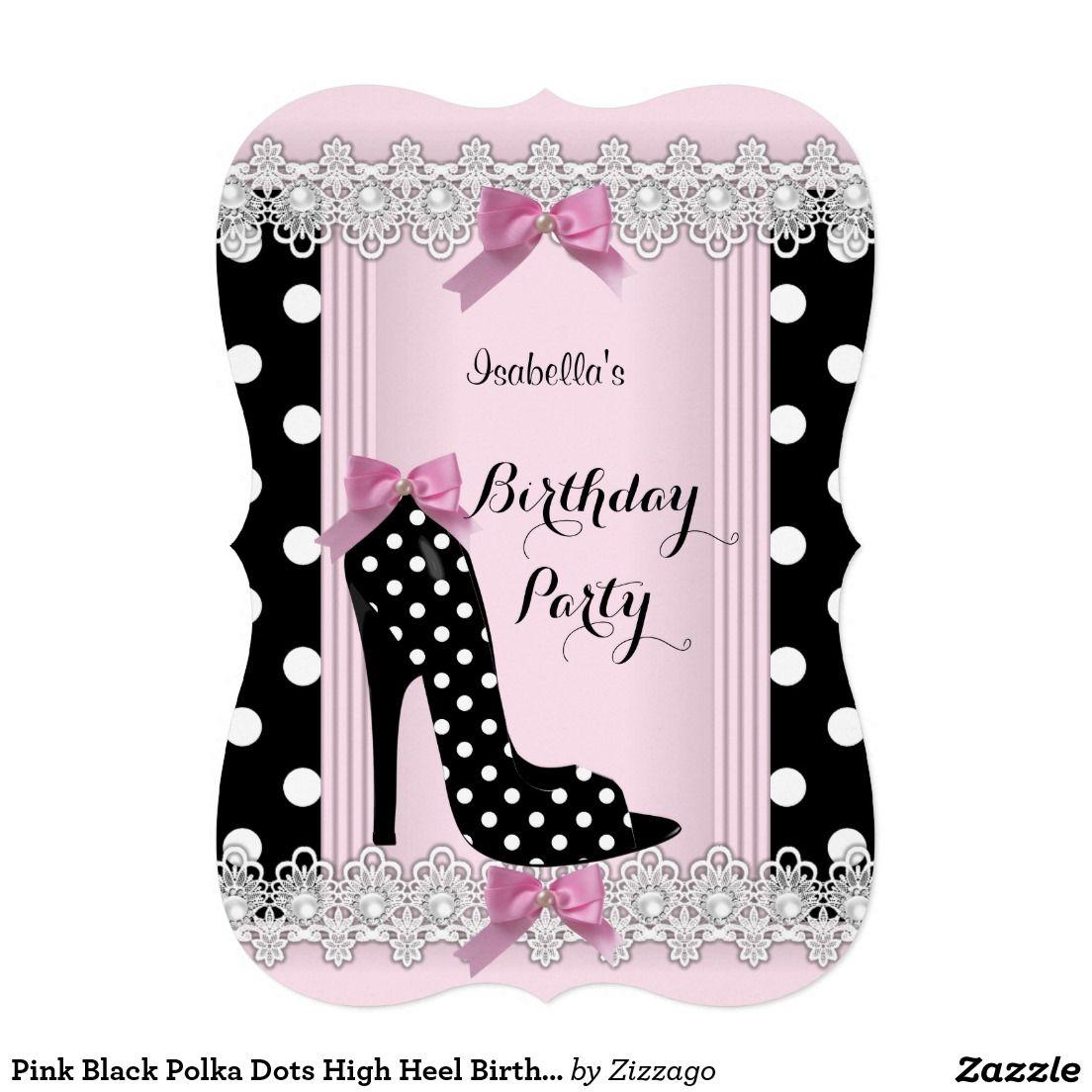 Pink Black Polka Dots High Heel Birthday Party Card | Pink black ...