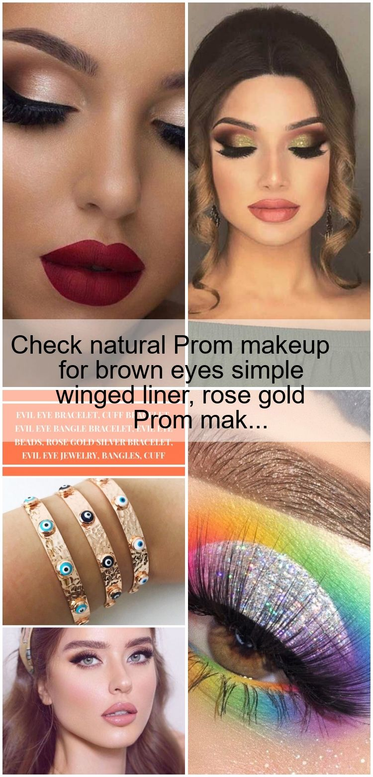 Photo of Check natural Prom makeup for brown eyes simple winged liner, rose gold Prom mak…