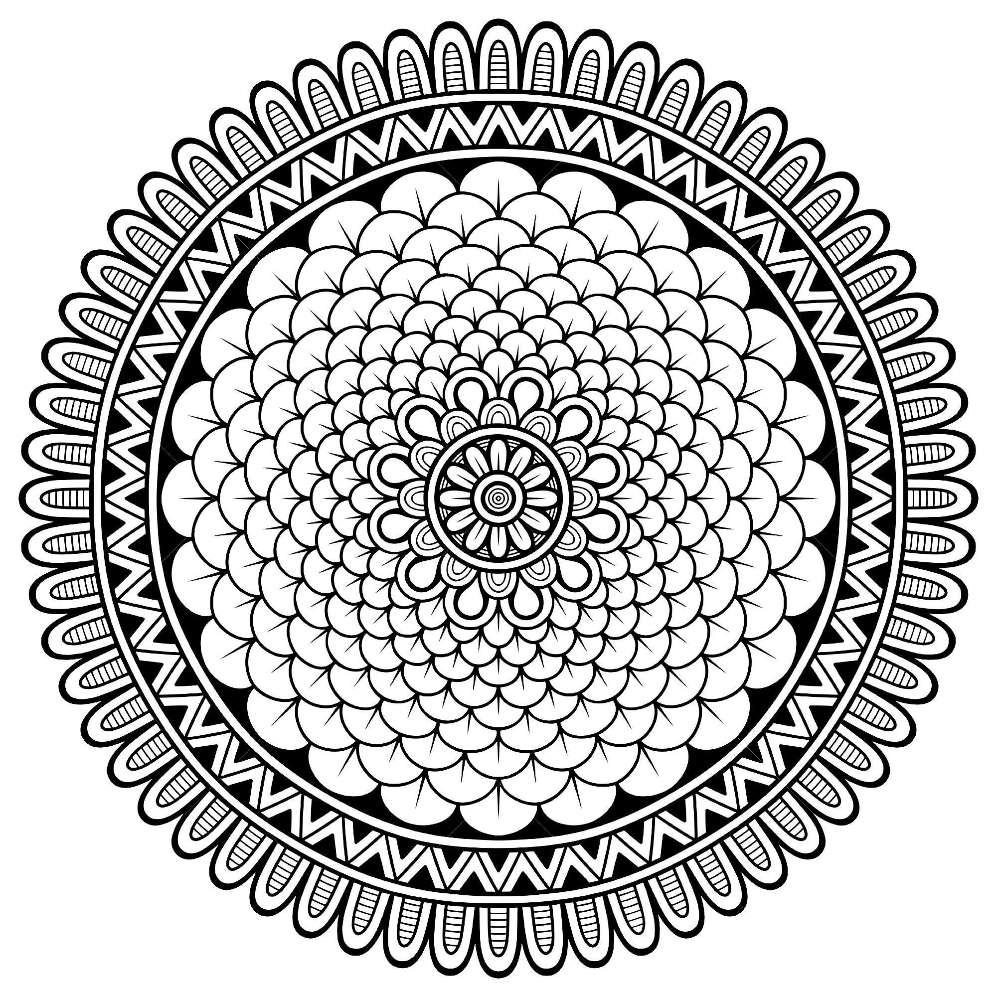 Voici des Mandalas difficiles pour adultes  imprimer Mandala est un mot sanskrit qui désigne un cercle et métaphoriquement un univers environnement ou