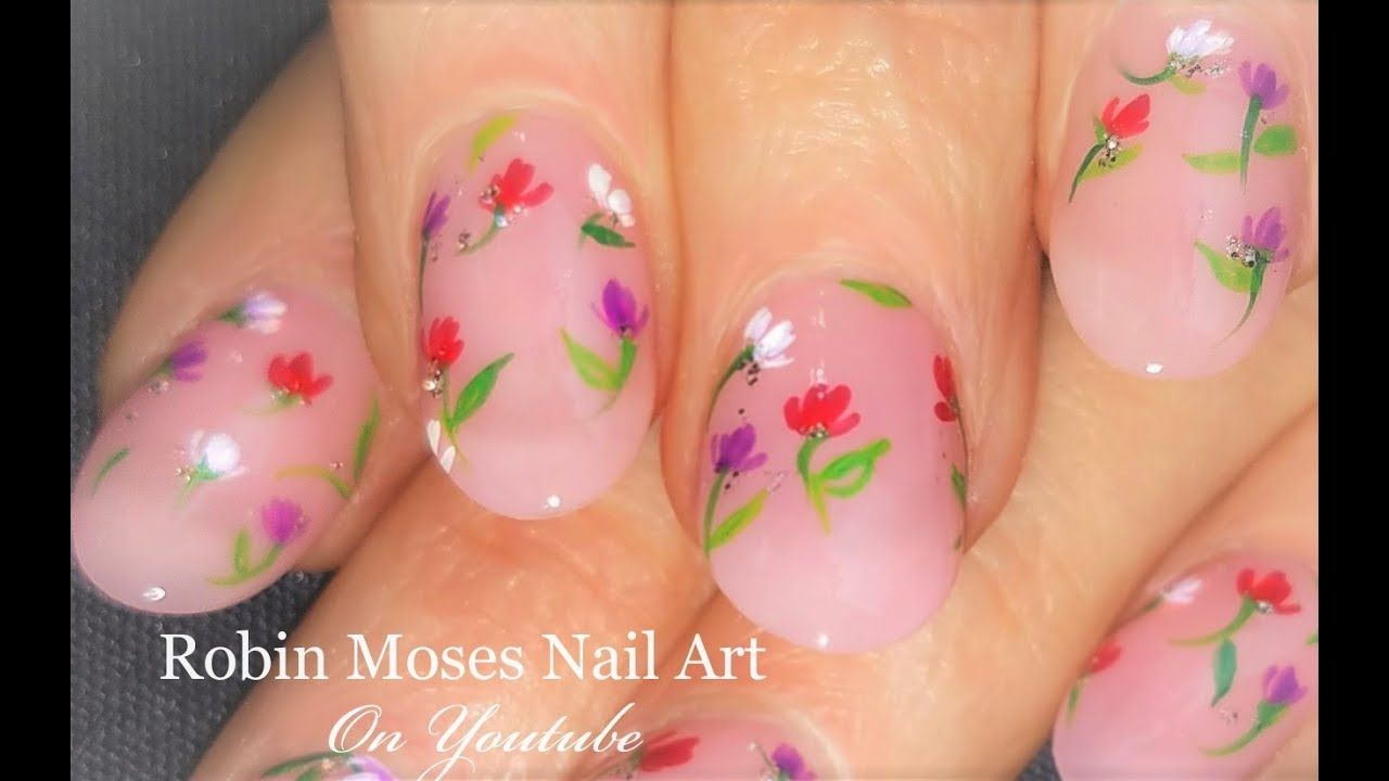 French Pink With Floating Flowers Diy Easy Floral Nail Art Design