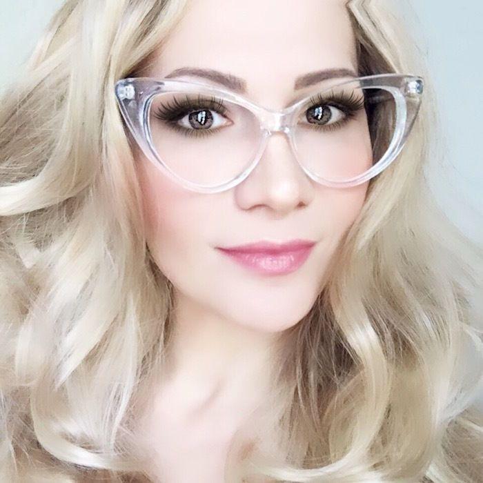 Large CRYSTAL Clear CAT Eye Frames Transparent Translucent Big PinUp ...
