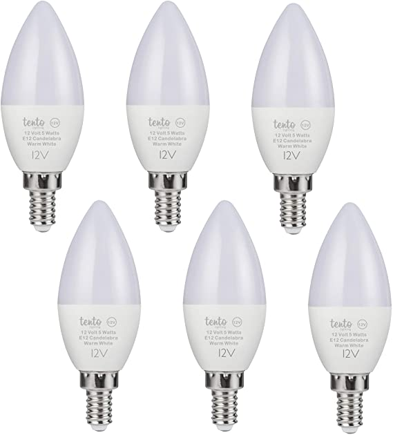 Tento Lighting 12v E12 Led Bulb 12 Volt 5w Candle Lamp Low Voltage Ac Dc 12v 450lm Low Voltage Candelabra Base Bulbs In 2020 Candle Lamp Cabin Chandelier Rv Lighting