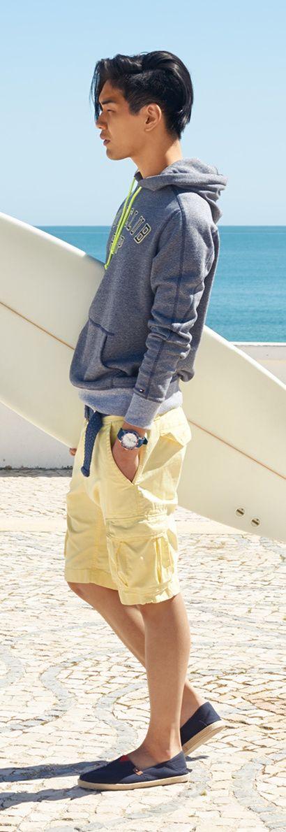 Tommy Hilfiger SS13 Mortimer Hoody, John Cargo Shorts, Vantage Sneaker #tommyhilfiger #SS13 #menswear #Summer2013