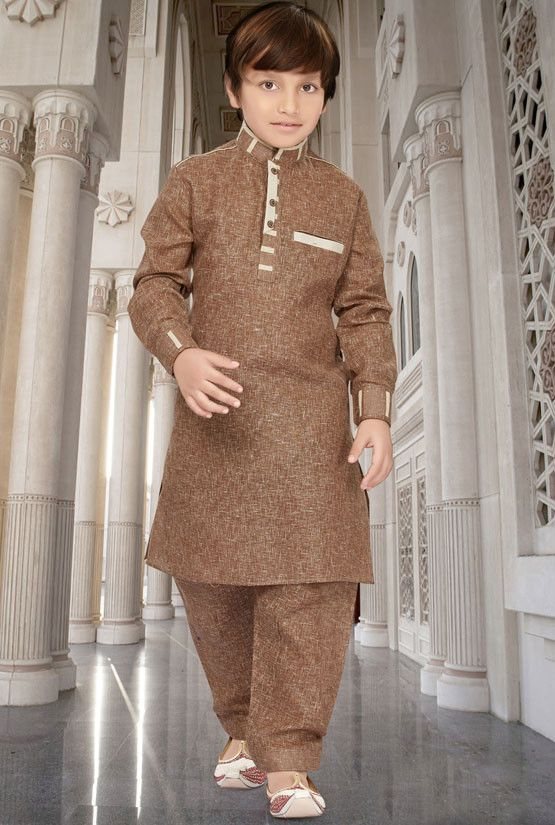 808b27645 Brown Cotton Silk Kids Pathani Kurta Set | Kids Collection | Pathani ...