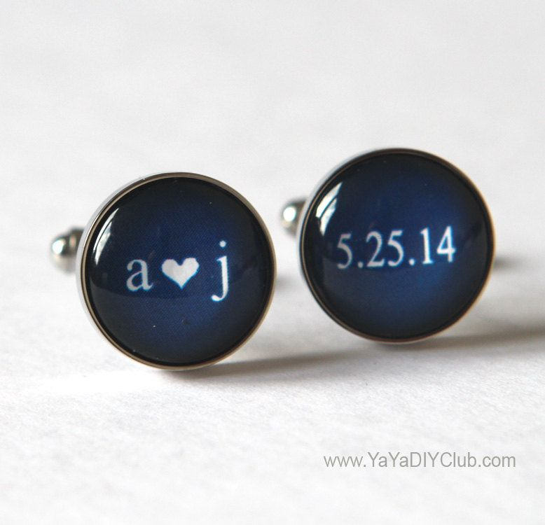 Keepsake Wedding Gift for Groom, Navy Blue Wedding Cufflinks Unique Groom Gift, Personalized Cuff links, Personalized Groom gift by yayadiyclub on Etsy
