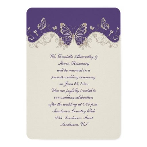 Dusty Purple Ivory Butterflies Reception Only