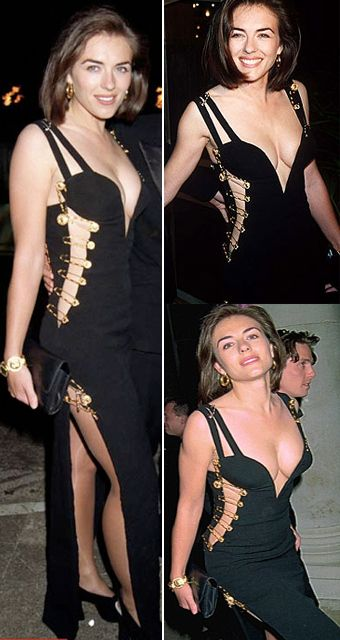 Elizabeth Hurley In The Versace Safety Pin Dress Elizabeth Hurley Celebrities Female Lil Black Dress