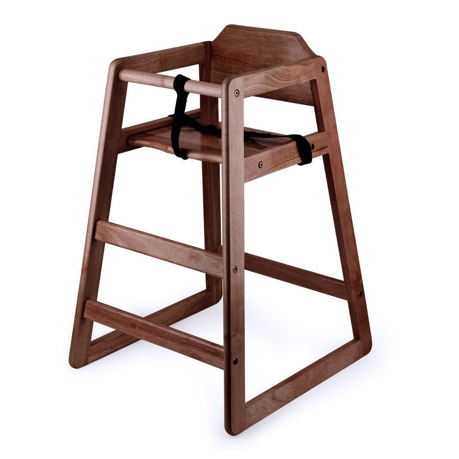 Ready-to-Assemble Stacking Restaurant Wood High Chair with Dark