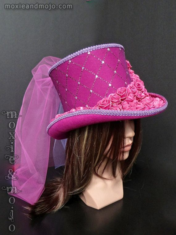 91d5bf9ae Burning Man Hat, Light-up Pink Mad Hatter Top Hat with detachable ...