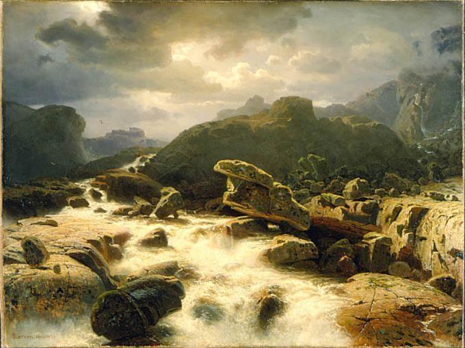 Marcus+Larsson,+`Fjällandskap+med+vattenfall+i+Norge,+1856,+olja+(2).jpg 680×509 pixels