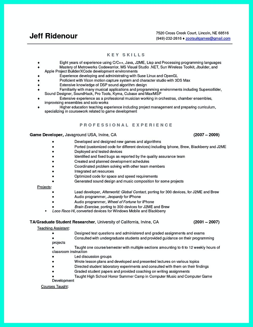 Iphone Programmer Sample Resume What You Will Include In The Computer Science Resume Depends On The .
