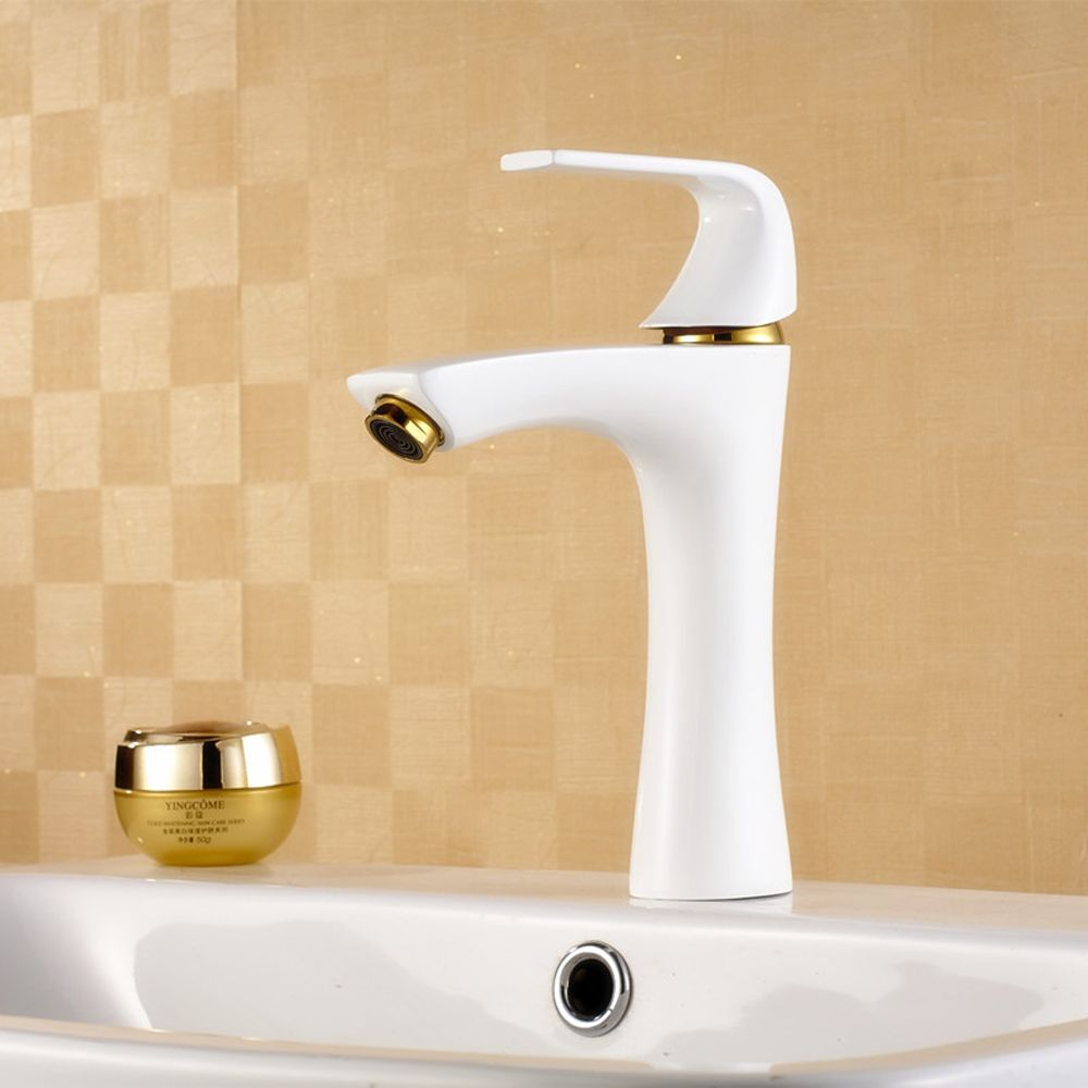 Antique below counter basin White Mixing waterfall faucet, Brass ...