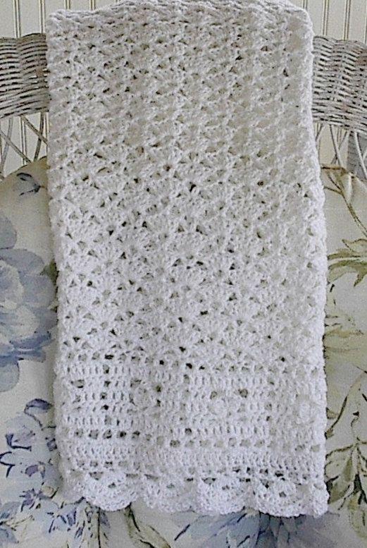Baby Afghan Blanket Crocheted White Christening Blanket White Baby ...