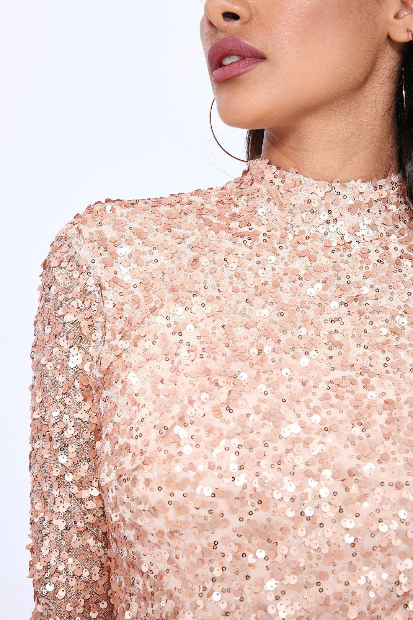 Rose gold sequin long sleeve midi dress products pinterest