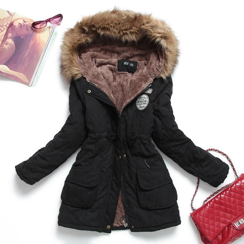 36460020b9b Hooded waterproof jacket with fur lining ~ 9 Colors!! ~ Plus size  available. Fitaylor Winter Jacket Women Thick ...