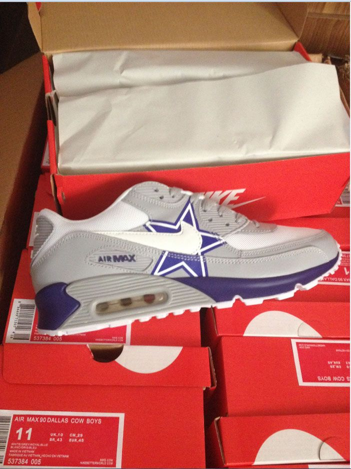 newest f8efc 04a7f ... dallas cowboys nike air max 90 new release custom shoes .