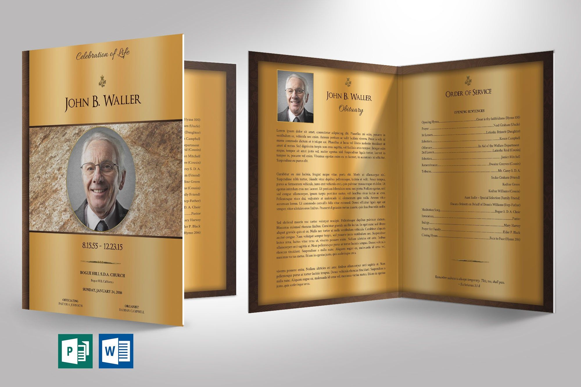Solid Gold Funeral Program Large Word Publisher Template 8 Pages