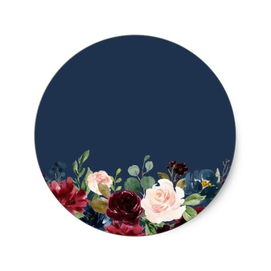 Burgundy Floral Navy Blue Thank You Wedding Favor Classic