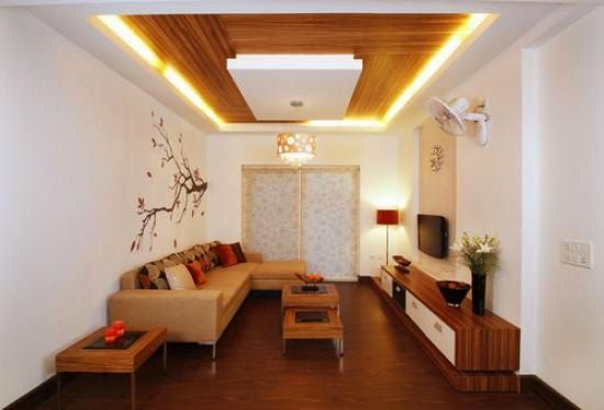 False Ceiling Designs For Living Room With Ceiling Lights And Wooden Paint