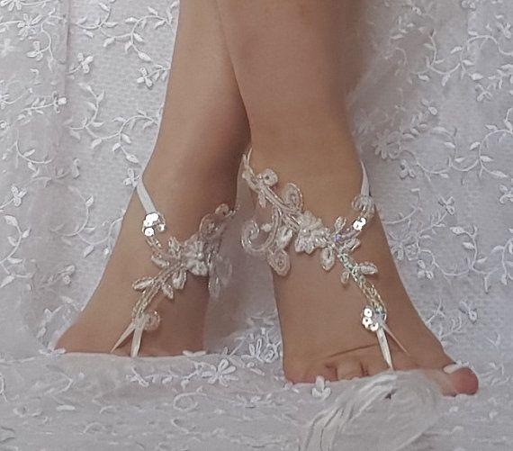 201fcb0631c3f9 beach shoes Unique design bridal sandal beads sequins barefoot ...
